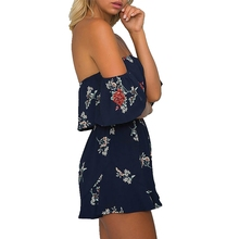 Women Holiday Beach Playsuits Casual Off Shoulder Ruffles Floral Blue Loose Playsuits
