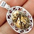 Mão fazer Genuíno KP0425 Turtella Jasper Pingente 100% 925 Jóias de Prata Esterlina 43mm