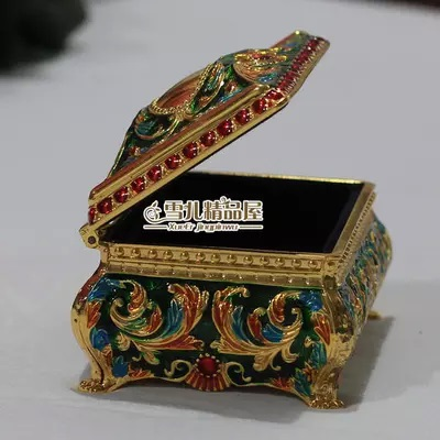 High end elegant princess gold green jewelry box restoring ancient