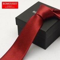 2017 Spring New Arrival Ties Special Romguest Genuine 6cm Korean Fashion Skinny Tie Groom Wedding Gift Box Geometric Red Necktie