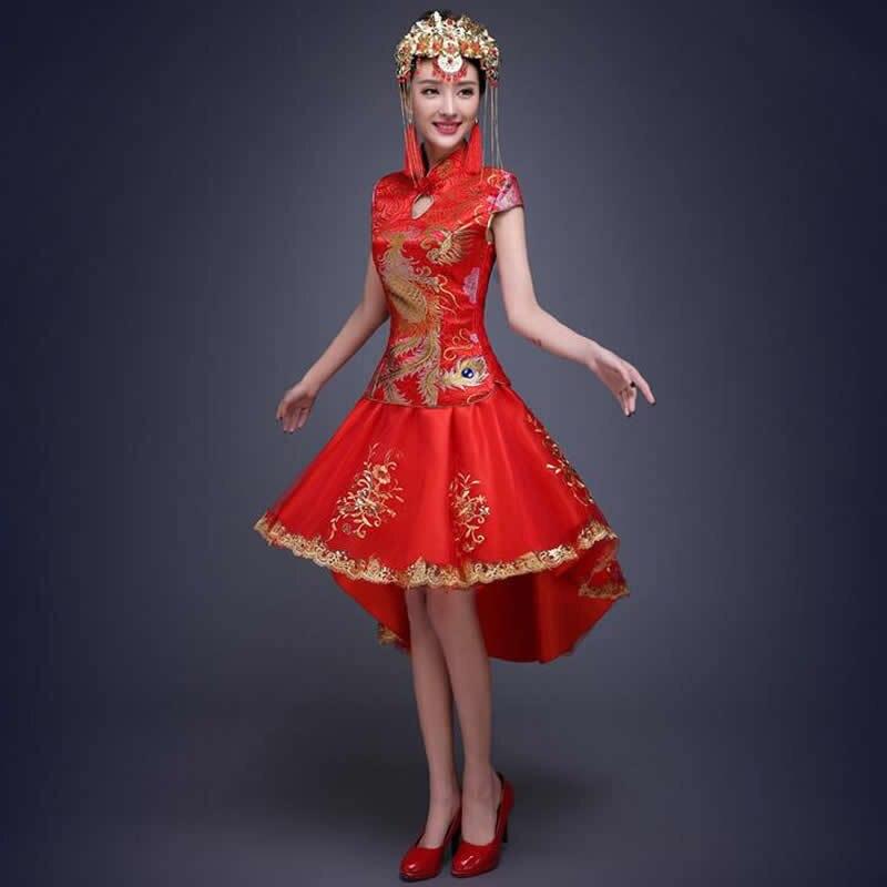 Comprar ahora Vestido de boda chino tradicional novia rojo Vestidos ...