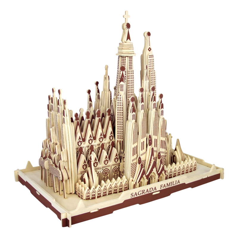 3d Wooden Puzzle Children's And Adult Model The Sagrada Familia A Kids Toy Of The Famous Building Series A Best Gift For Kids qiyun 3 d wooden puzzle children and adult s educational building blocks puzzle toy pig model