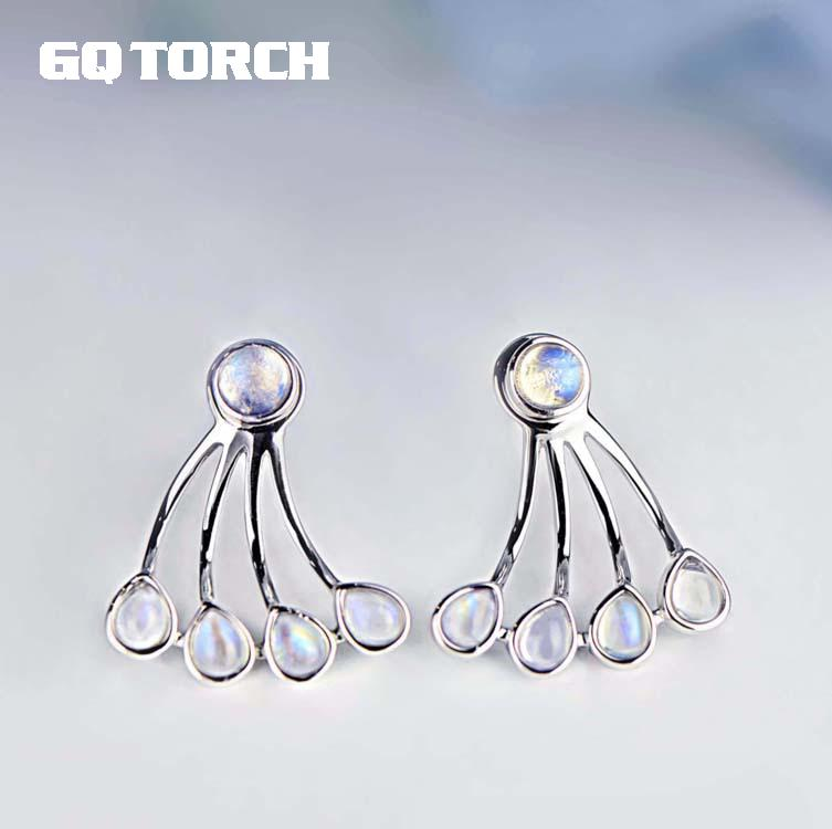 Real 925 Sterling Silver Earrings With Natural Moonstone Detachable Multi Function Earrings For Women High Quality Jewelry