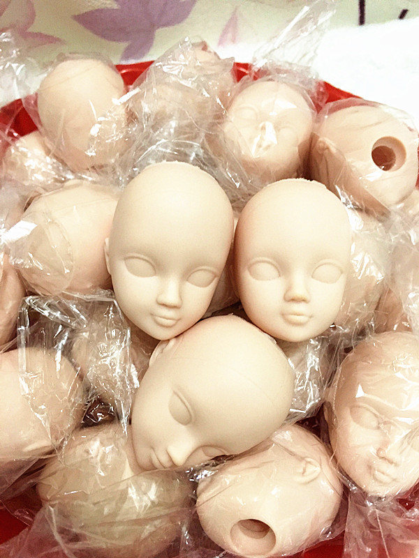 O for U 20 Pcs/lot Soft Plastic Toy Practice Makeup Doll Head 1/6 White Double-fold Eyelid DIY Heads For Barbies BJD Make Up