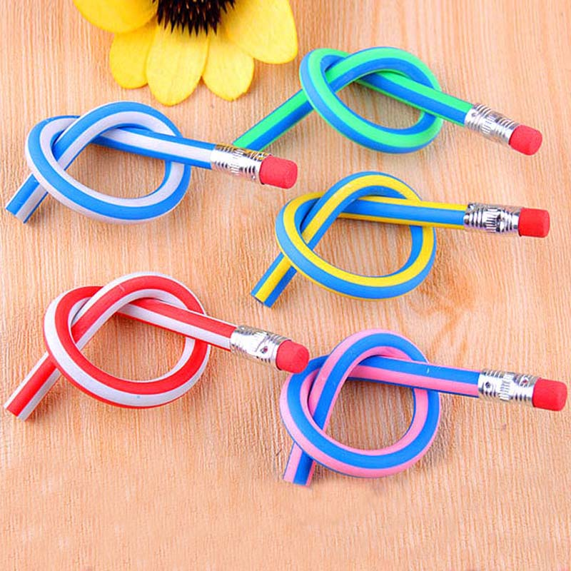 5 pcs/lot Korea Cute Stationery Colorful Magic Bendy Flexible Soft Pencil with Eraser Student School Office