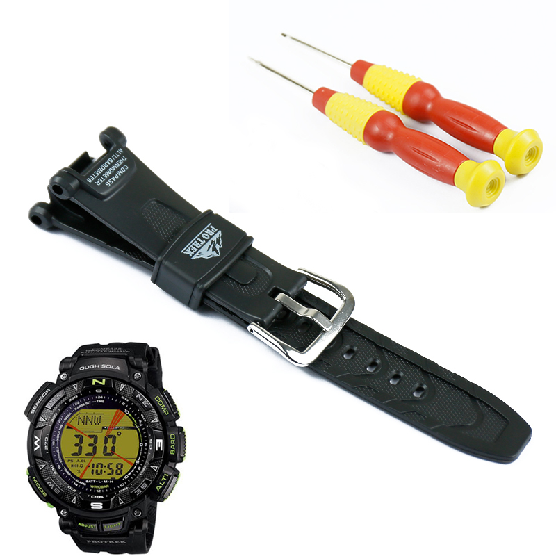 Pin buckle black resin strap men for Casio outdoor sports hiking waterproof watch with PRG-240 PRG-40 watch band accessories