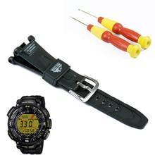 Ze sprzączką czarny pasek z żywicy mężczyźni dla Casio outdoor sports turystyka wodoodporny zegarek z PRG 240 PRG 40 zegarek opaska akcesoria