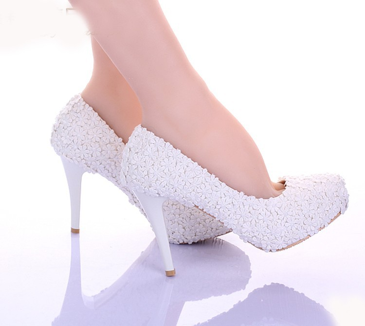 Encaje blanco flores zapatos de vestir formales dama de honor cómodo ...