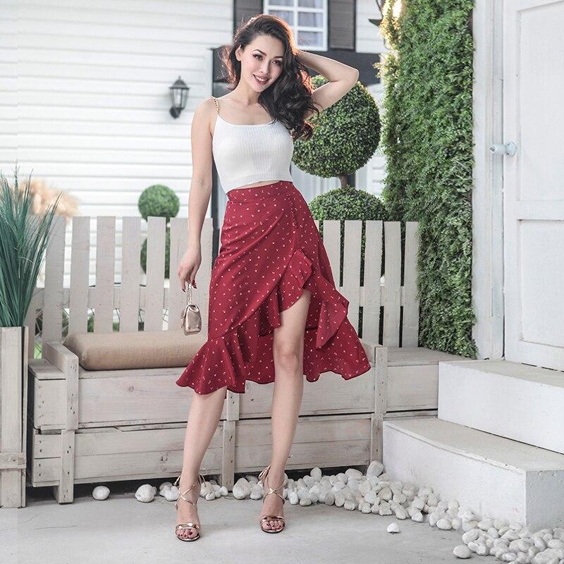 Sirena Irregular Tejido Sin Estiramiento Floral Borgoña Transpirable Lado Falda Impreso Muy Verano 2018 Sexy Corte Slits R4q57tw