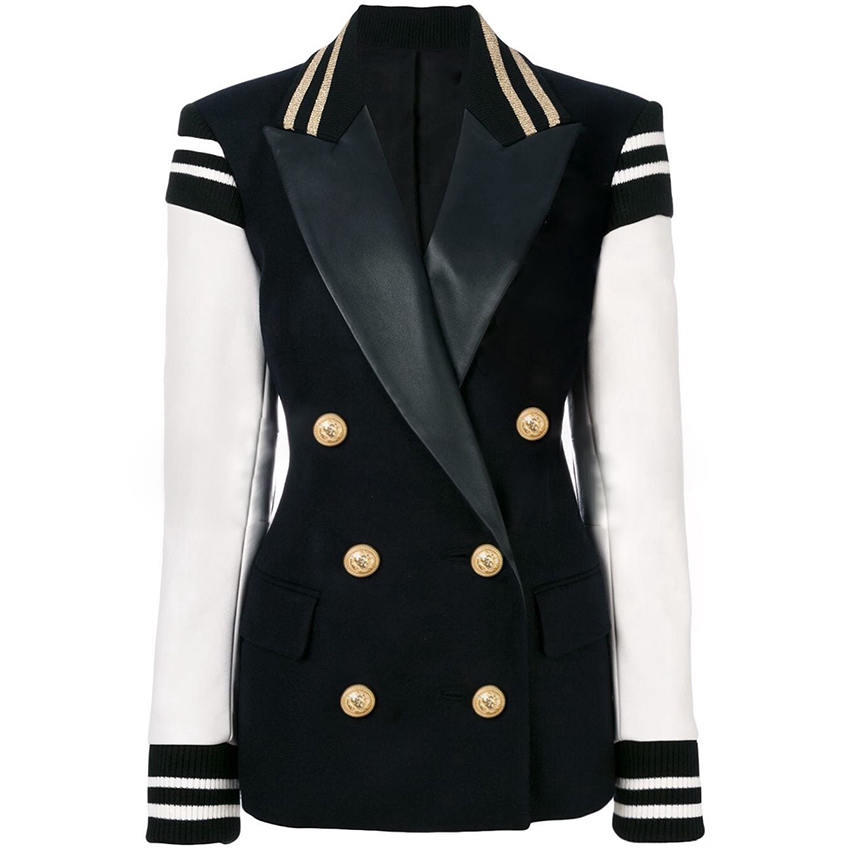 HIGH QUALITY Newest Fashion 2019 Designer Blazer Women's Leather Patchwork Double Breasted Blazer Classic Varsity Jacket-in Blazers from Women's Clothing    1