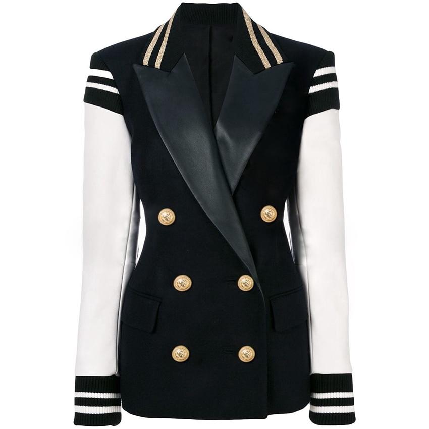HIGH QUALITY Newest Fashion 2020 Designer Blazer Women's Leather Patchwork Double Breasted Blazer Classic Varsity Jacket