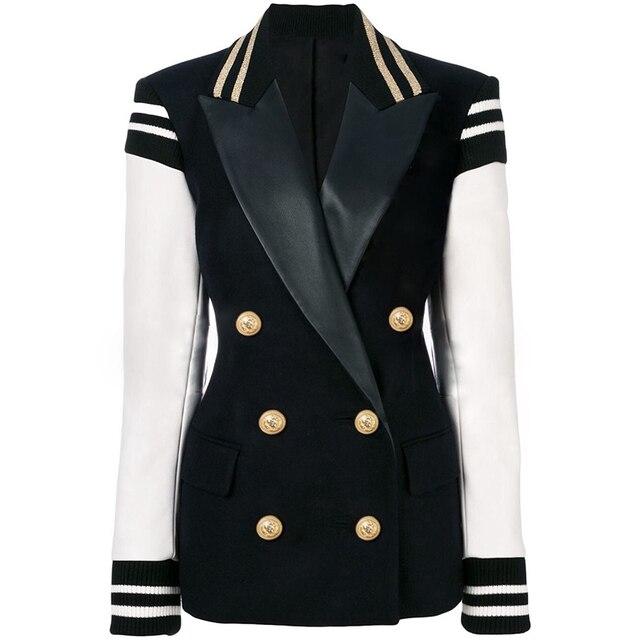 Hoge Kwaliteit Nieuwste Fashion 2020 Designer Blazer Vrouwen Lederen Patchwork Double Breasted Blazer Classic Varsity Jacket