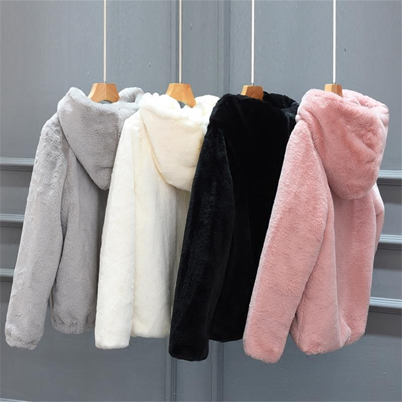 Autumn and Winter New Rex Rabbit Fur Faux Fur Short Female Hooded Loose Thick Plus Size