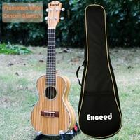 Free shipping 23 inch Concert Ukulele Guitar Mini Acoustic uke Handcraft Zebra Wood Hawaii 4 strings instrument Ukelele+free bag