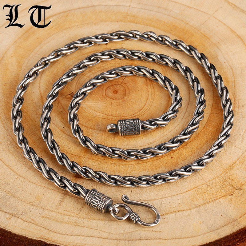 LT Gothic Solid 925 Sterling Silver Necklace Men 55cm Length High Polished Cross Chain Punk Retro Style Jewelry For Mens punk solid color snake chain necklace for men