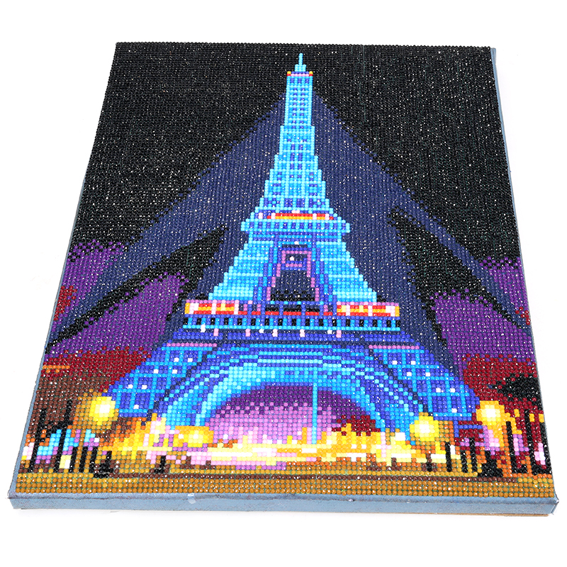 Image 3 - HOMFUN LED Light Full Round Drill 5D DIY Diamond Painting Eiffel