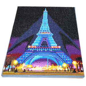 """Image 3 - HOMFUN LED Tròn Đầy Khoan 5D Tự Làm Tranh Gắn Đá """"Tháp Eiffel"""" 3D Thêu Túi Đeo Chéo 5D Trang Trí tặng 30x40cm"""