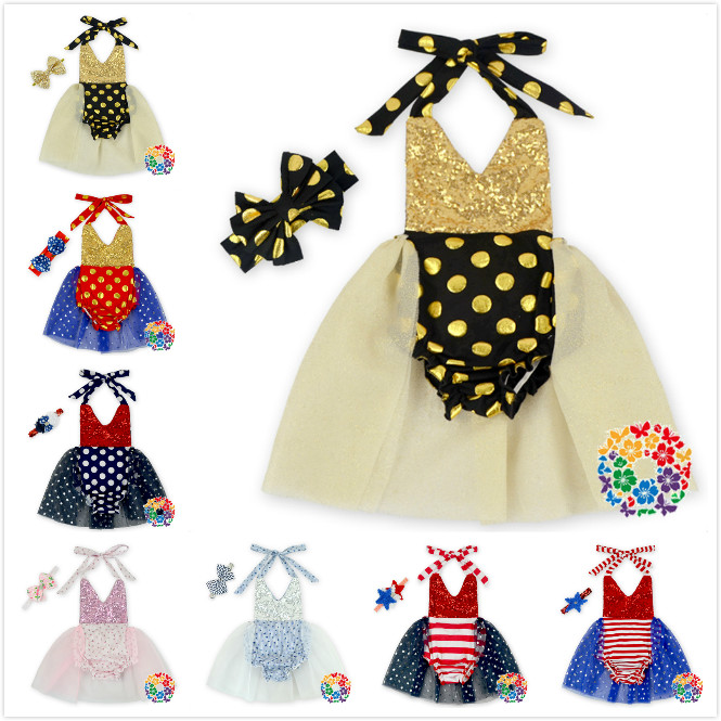 Baby TUTU Bodysuit Dress Bling + Headwear 2pcs Set Halter Neck Dot One-Pieces Kids Bling Bling Set Infant Toddle Clothes