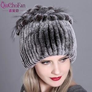 Image 1 - Women fur hat for winter natural rex rabbit fox fur cap russian female fur headgear 2018 brand new fashion warm beanies cap