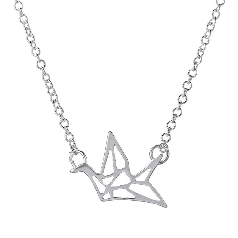 Free Shipping New Arrival Hot Sale Fashion Simple Paper Crane Necklace For Women Cute Animal Shape Pendant Necklace