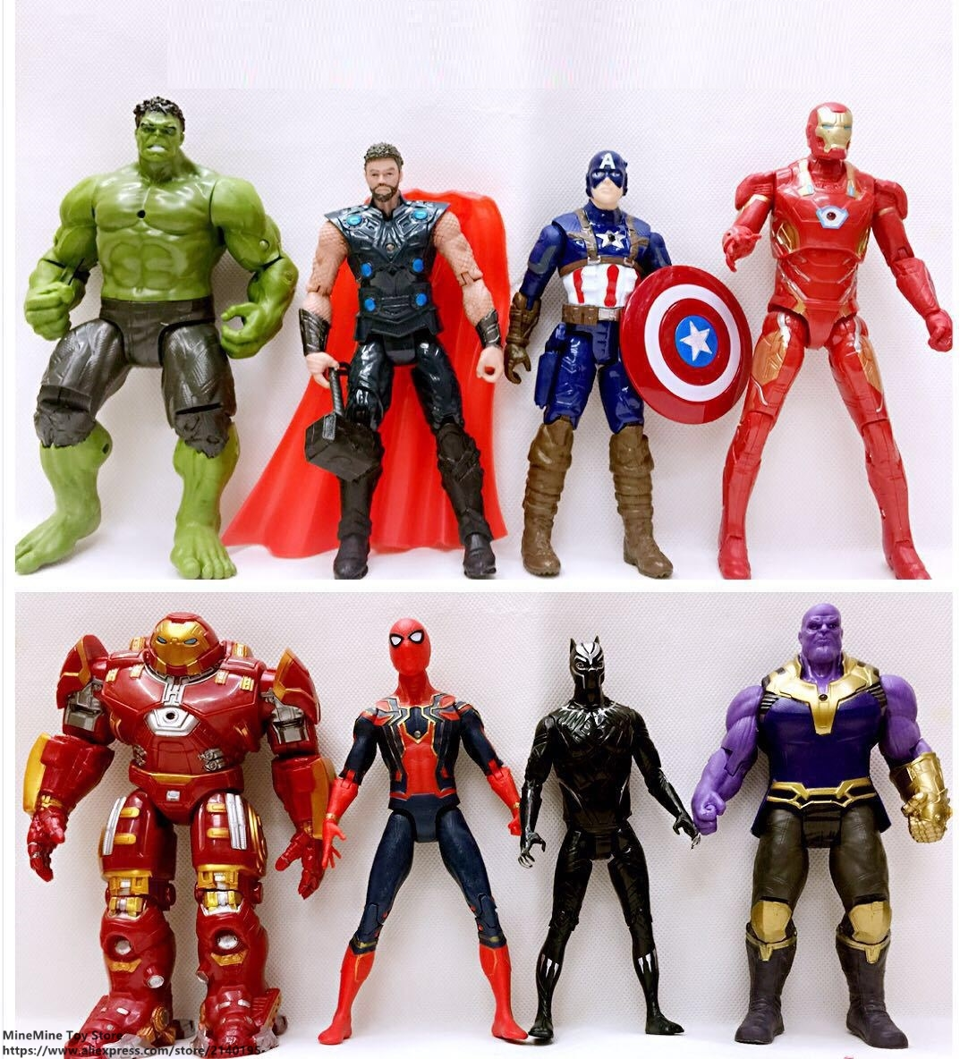 ZXZ Marvel Avengers 8 pcs/set Super Heroes Thor Hulk Buster Action Figure Anime Decoration Collection Figurine Toy model