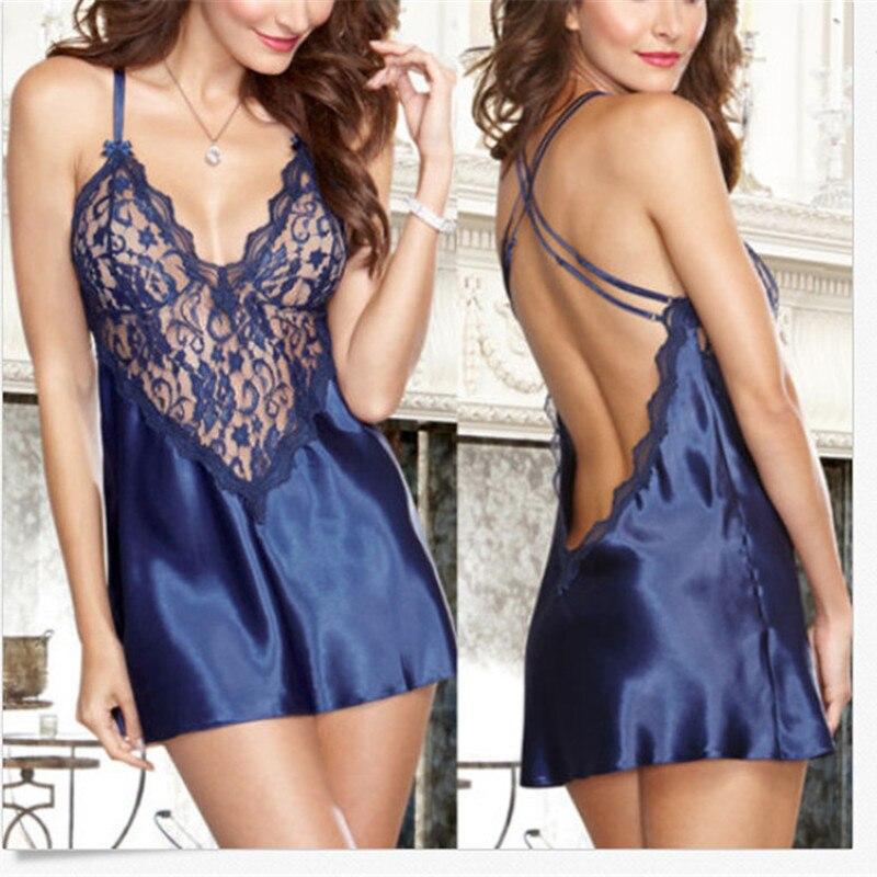 Sexy Spitze Nachthemd Dessous Mode Patchwork Nachthemd Frauen Sheer Scalloped Satin Nachtwäsche Seide Slip Nachtwäsche Chemises