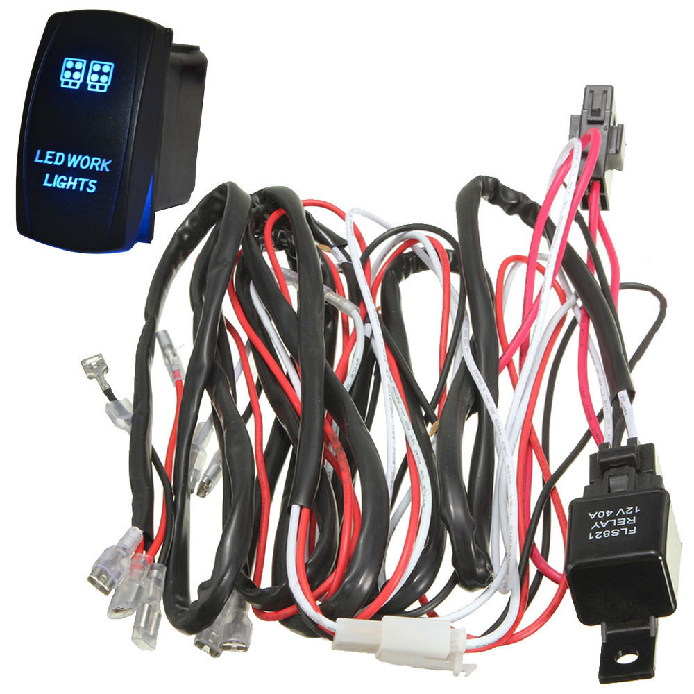 ee support 40a laser rocker switch relay fuse wiring harness kit led light zombie two lead [ 1000 x 1000 Pixel ]