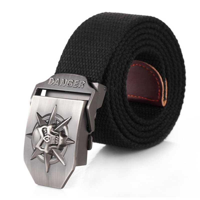 Skull Alloy Automatic Buckle Men's Belt Personality Men's Belt For Teenager Boy Stripe Canvas Luxury Strap Male Belts 150 160cm