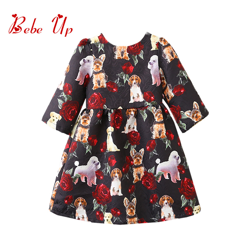 Kids Dresses For Girl Spring 2018 Toddler Dress Puppy Floral Print Children Clothing Long Sleeve Girls Party Princess Dress шапка kama kama ka022cuwto26