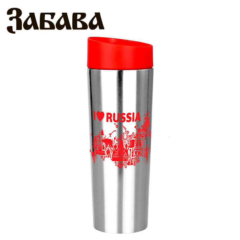 ZABAVA RK-0406M Hot cup 400ml Vacuum Flask Thermose Travel Sports Climb Thermal Pot Insulated Vacuum Bottle Stainless Steel outdoor sports water bottle cup with strap orange 500ml