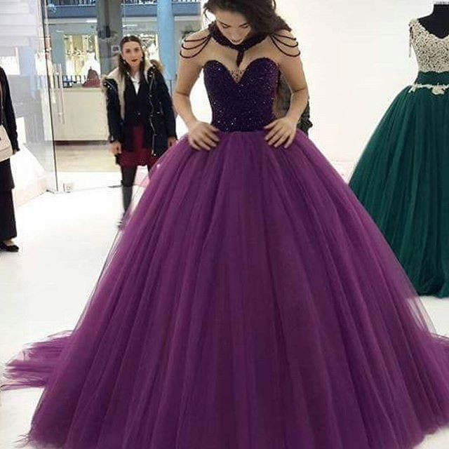 15e304a922 placeholder Purple Sweetheart Ball Gown Prom Dresses 2019 Fully Beaded  Bodice Court Train Princess Teens Classic Formal