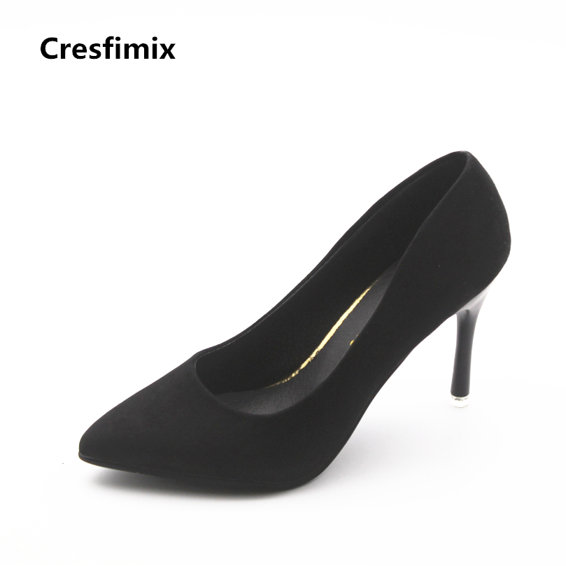 Cresfimix women fashion black 8cm high heel shoes lady casual party night club high heel pumps female cute pointed toe shoes cresfimix women fashion