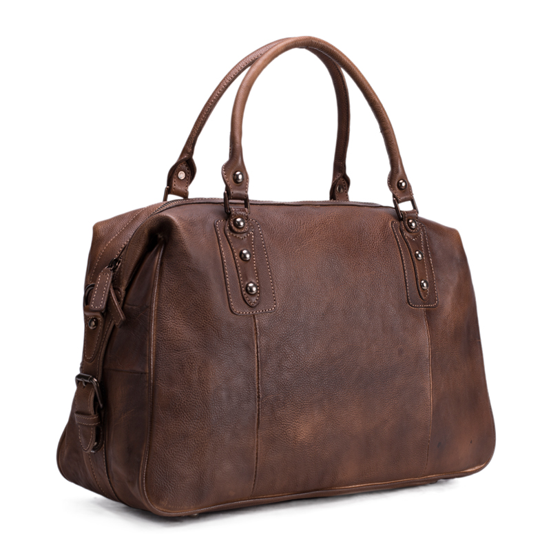 ROCKCOW Vintage Style Vegetable Tanned Leather Travel Bag, Duffle Bag, Bag Weekender, Holdall 9029