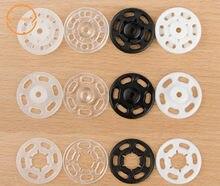 Frete grátis 100 peças 7mm/10mm/13mm/15mm/18mm/21 fecho de pressão pequeno de plástico abs, presilha de pressão, acessório de costura