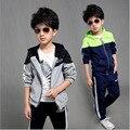 Meninos roupa dos miúdos casual fleecessets big crianças outwear terno para primavera outono moda Hoodied Casaco E Jaquetas 7-15 anos