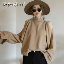 TWOTWINSTYLE Off Shoulder Sexy Sweatshirt Women Long Sleeves Pullover Tops Female Casual Clothes Korean Large Size 2020 Spring