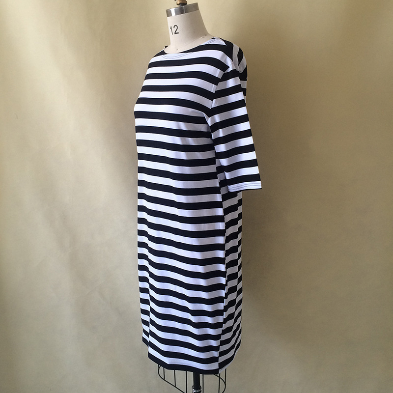 Quality Women Clothes White Black Zebra Striped Dress Fashion Bodycon Cotton Blends Autumn Dresses Plus Size Casual Dress 6XL in Dresses from Women 39 s Clothing
