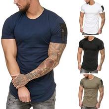 Litthing 2019 New Fashion Brand T Shirt Men O Neck Zipper Sleeves Pocket Male T-Shirt Street Wear Fitness Top Tees Dropshipping