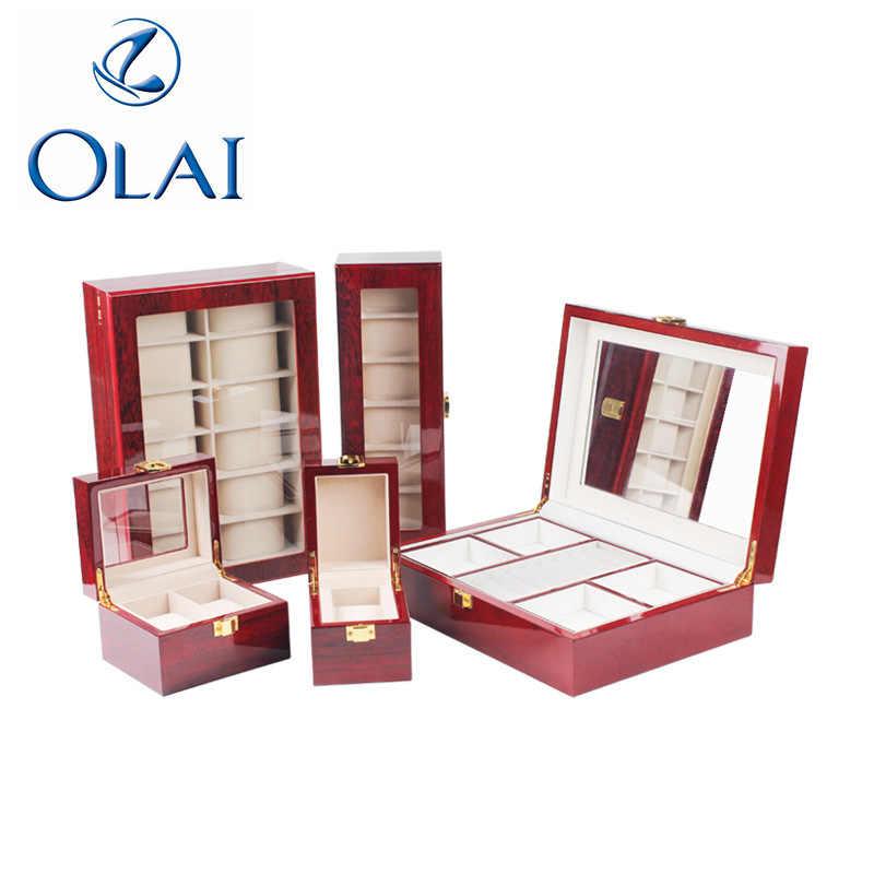 1-12 файлов модные простые часы отображает окно открытым окном красные лаковые деревянные часы в подарочном корпусе Роскошные ювелирные изделия коробка для хранения часов
