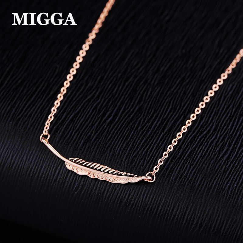 MIGGA doux petite feuille charme chaîne collier mode femmes filles Rose or couleur collier bijoux