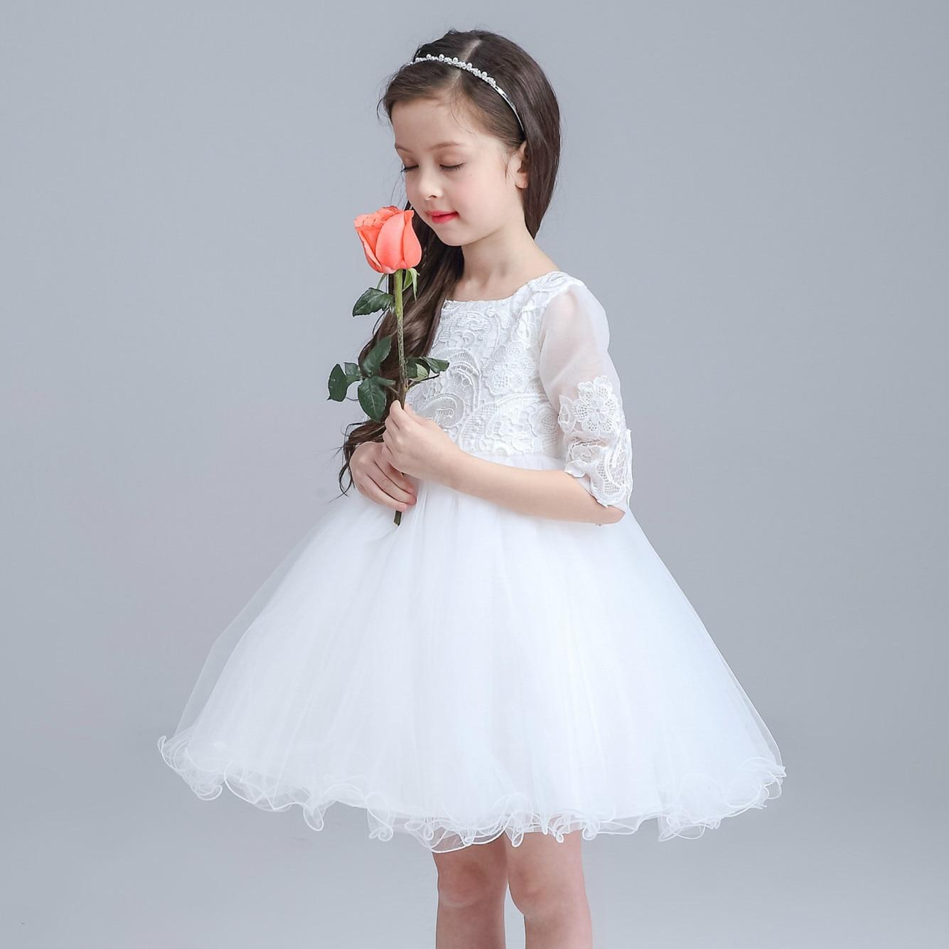 High Quality Kid Baby Wedding Flower Girl Dress half sleeved Baby ...