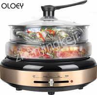 Olla eléctrica dividida de 220V para el hogar Multi cocina asada una sartén eléctrica de 1300W multicocina