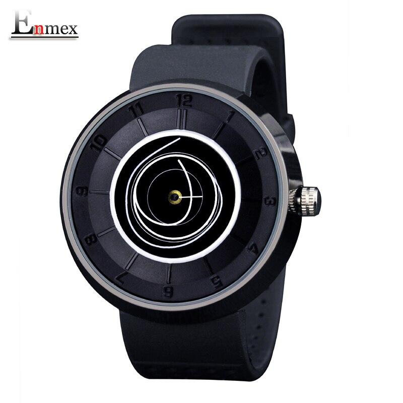 2016 de los hombres de regalo Enmex neutral bobina manos diseño reloj de pulsera dial creativo respirar libremente correa simple relojes de cuarzo de moda