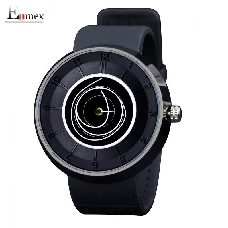 2016 men's gift Enmex neutral coil hands design wristwatch creative dial breathe freely strap simple fashion quartz watches 2017lady gift enmex design silicone strap creative changing patterns dail japanese style simple quietly elegant quartz watches