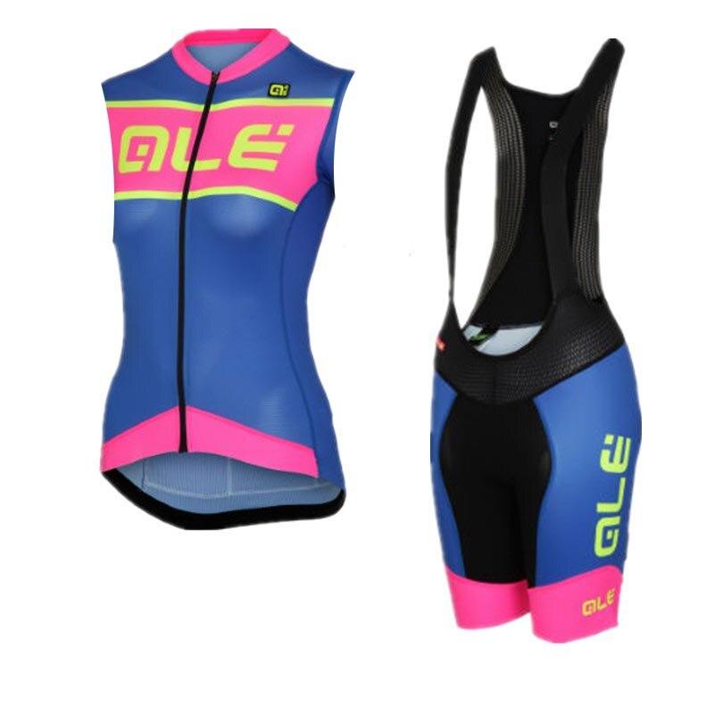 Ropa ciclismo ALE 2017 Женщины без рукавов Велосипеды Джерси набор MTB велосипед одежда гоночный велосипед рубашки + 9D гель pad Биб шорты комплект G083