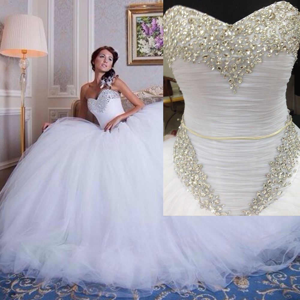 Robe de mariee white strapless wedding dresses ball gown for Back necklace for wedding dress