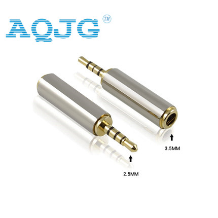 Gold 2 5 mm Male to 3 5 mm Female audio Stereo Adapter Plug Converter Headphone