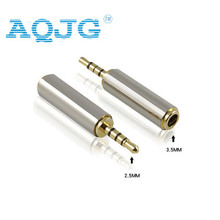 Gold 2.5 mm Male to 3.5 mm Female audio Stereo Adapter Plug Converter Headphone jack  Wholesale AQJG