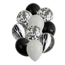 "12""10pcs Black Marble Balloons Bouquet Black White Confetti Ballons Christmas New Year Baby Birthday Wedding Party Decoration(China)"