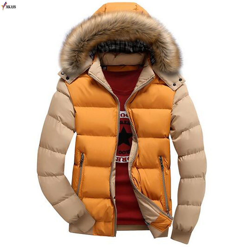 2019 New Fashion Patchwork Color Hooded Design Men Parka Size S-4XL Casual Men's Winter Jacket Stand Collar Thick Man Jacket